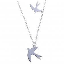 Flying Swallows Silver Necklace