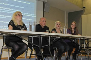 Credit: Jack Western (L to R: Jemima Busby, Greg Dyke (chair), Beth Campbell, Grace Winpenny)