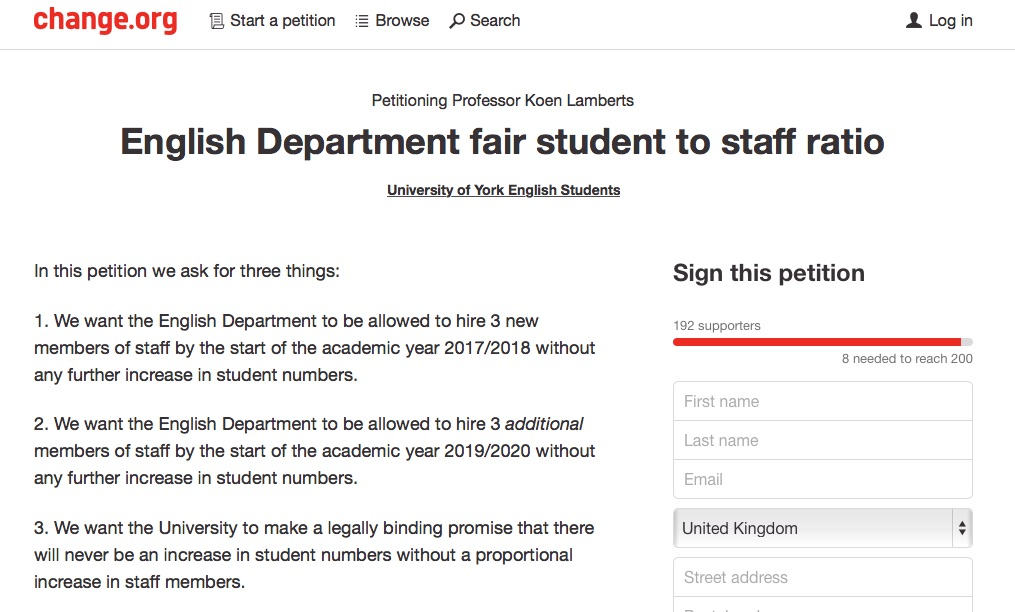The petition was posted to the popular online campaigning website change.org.