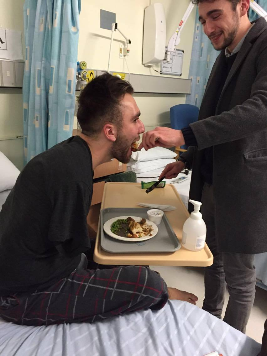 Friends of Richard lend a helping hand in hospital, but apparently have not been deterred from nightclubs since the accident.