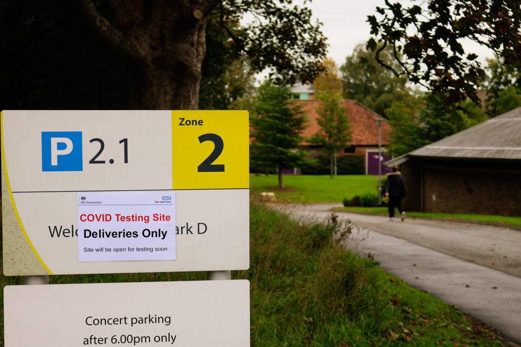 Sign for the new COVID testing facility, in front of Drama Barn