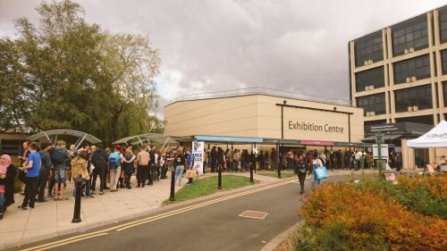 Line for Freshers' Fair outside the Exhibition Centre