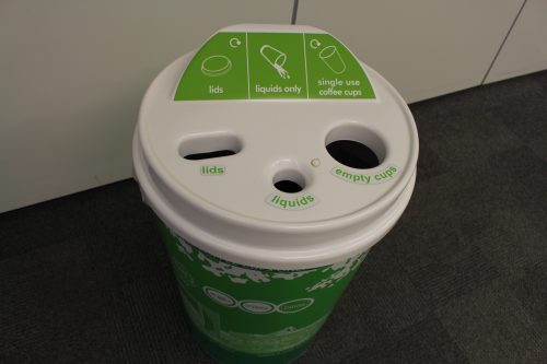 New cup-shed bin for reusable cups, from top