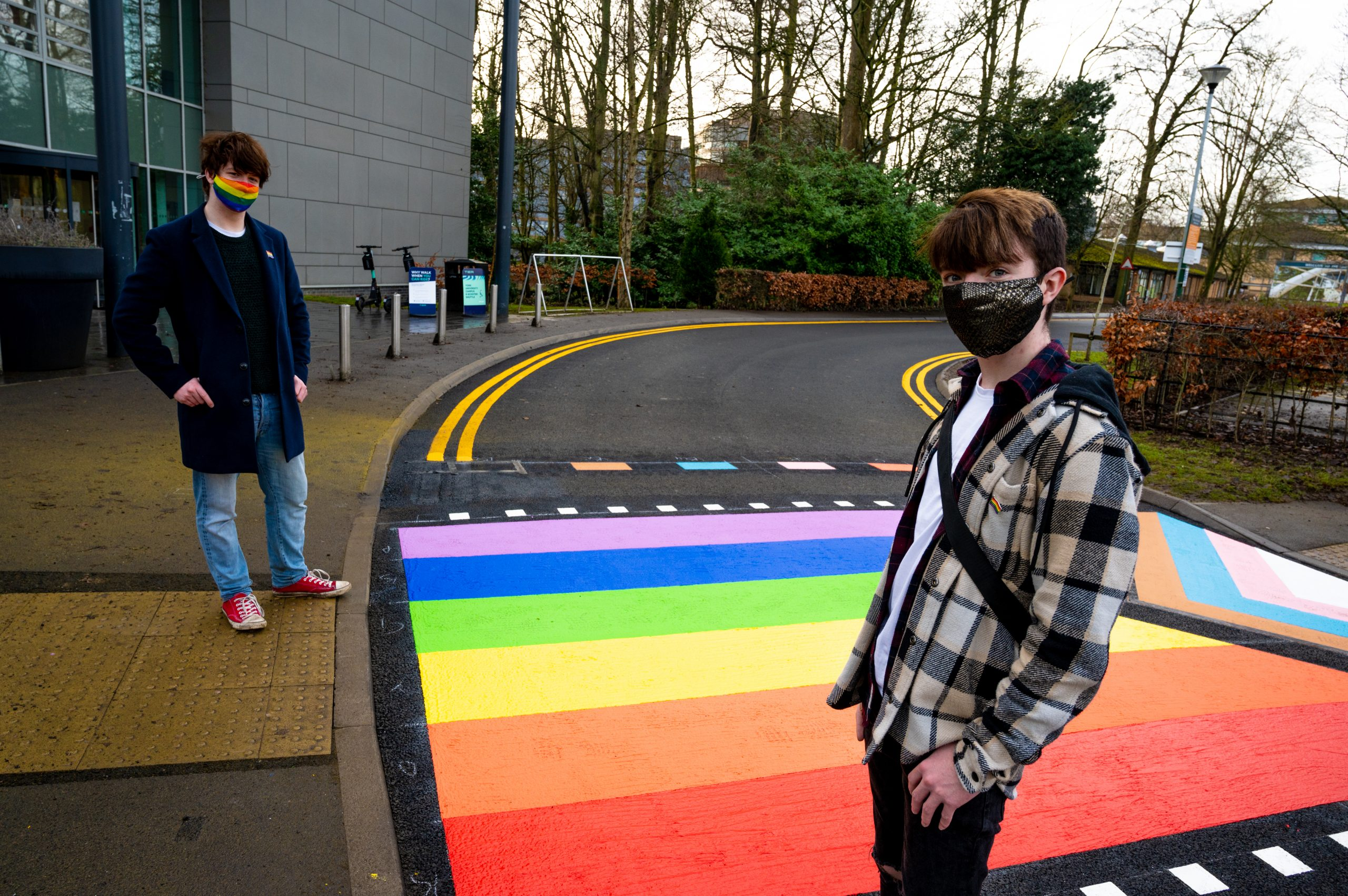 YUSU LGBTQ Officers standing in front of the new inclusive road crossing