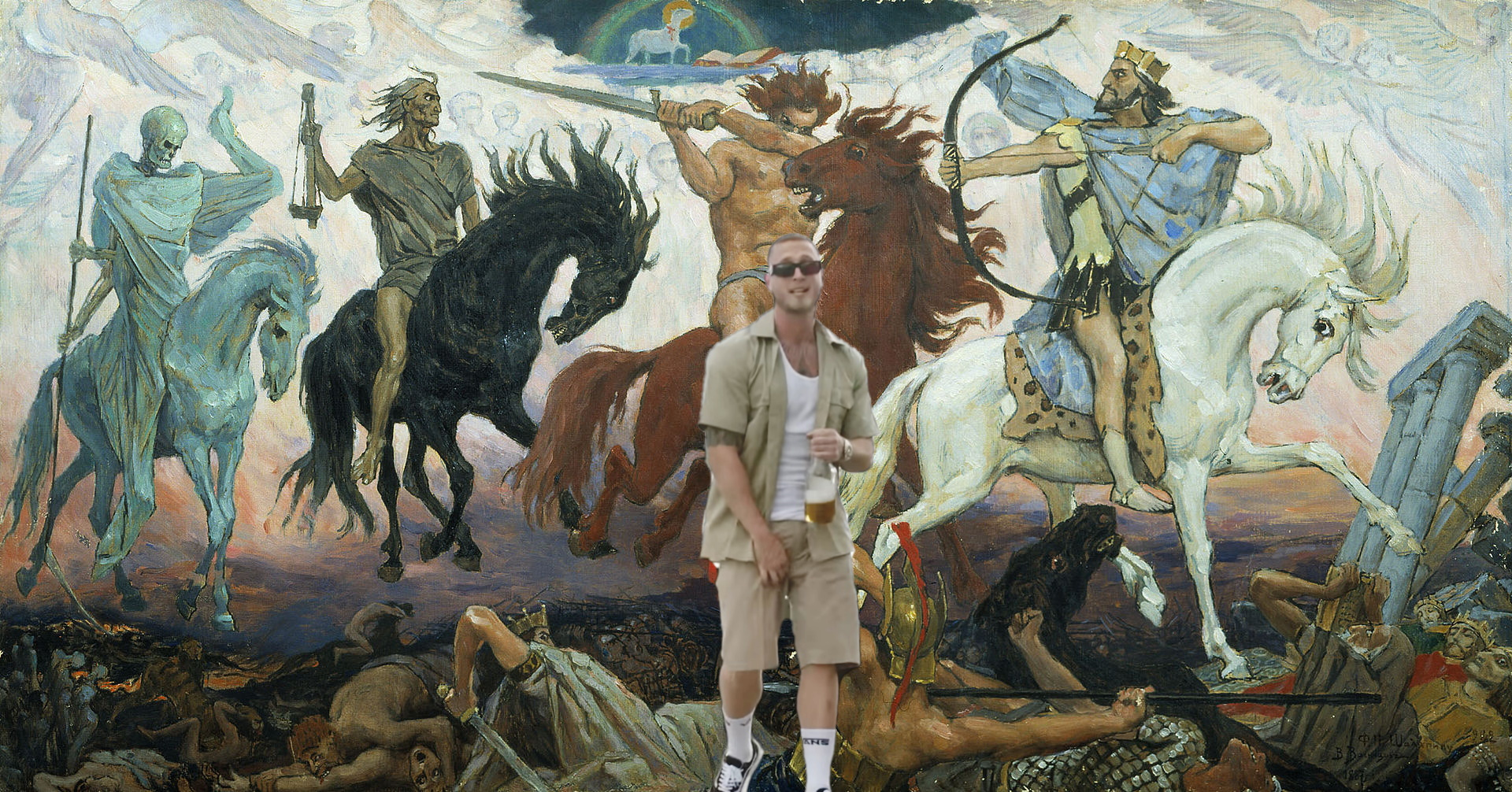 An image of Chet Hanx superimposed upon a dramatic painting of the apocalypse